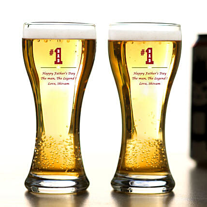 Personalised Happy Fathers Day Beer Glass Set Of 2