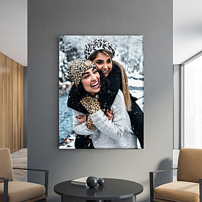 Personalised Happy Memories Portrait Canvas Frame