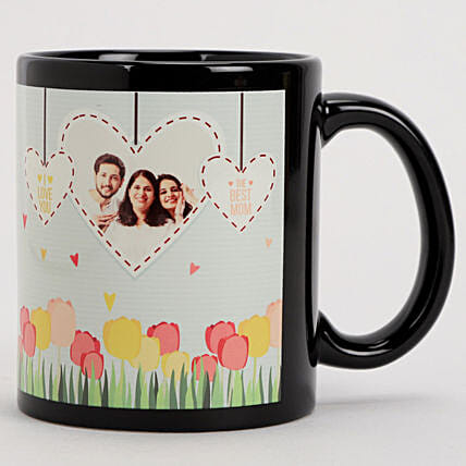 Online Personalised Hearts & Flowers Black Mug