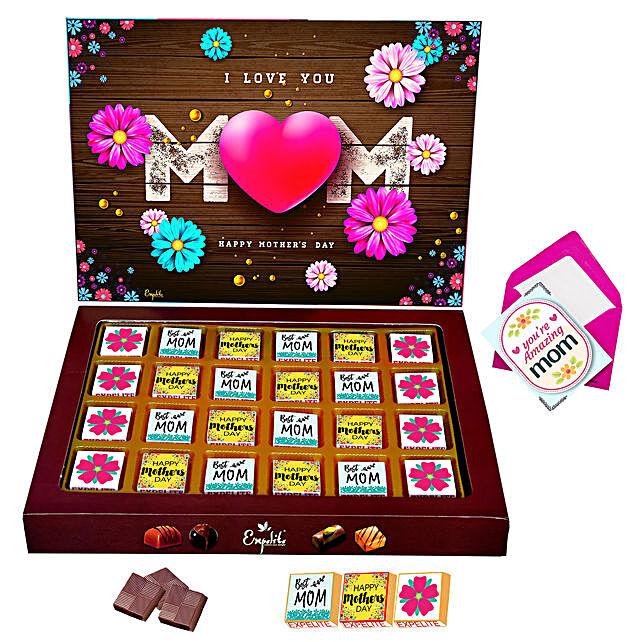 Personalised I Love U Mom Chocolates And Greeting Card