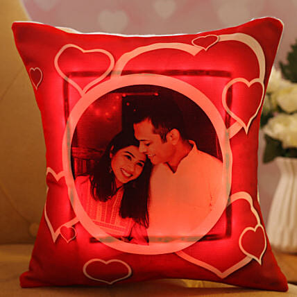 personalised led cushion for valentines day