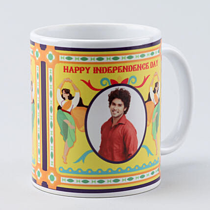 personalised independence day white mug
