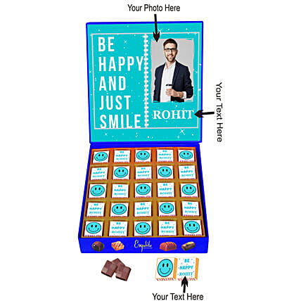 Personalised Just Smile Chocolate Gift Box:Personalised Chocolates for Anniversary