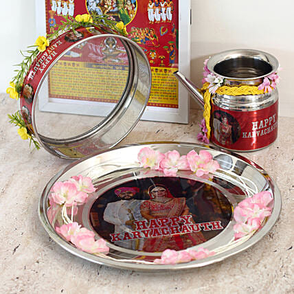 Decorated Karwa chauth combo:Send Pooja Thali to Ludhiana