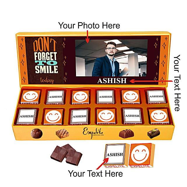 Personalised Keep Smiling Chocolate Gift Box