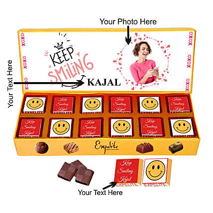 Personalised Keep Smiling Chocolate Gift for Her