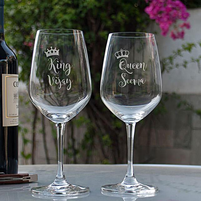 King & Queen Printed Wine Glasses Online