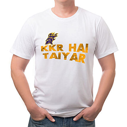 Personalised KKR Hai Taiyar White T Shirt