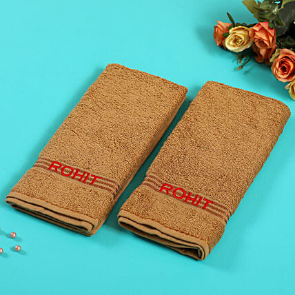 Personalised Light Brown Cotton Towel Pack Of 2