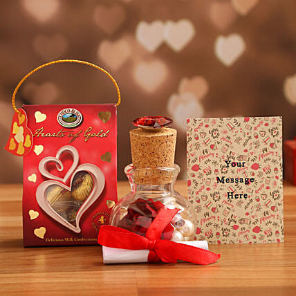 personalised message bottle with choco swiss