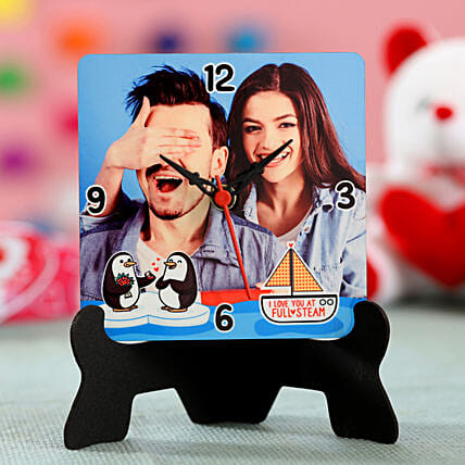 photo printed table clock for valentine special:Hug Day Gifts