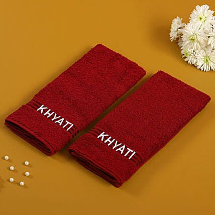 Personalised Maroon Cotton Towels Pack Of 2