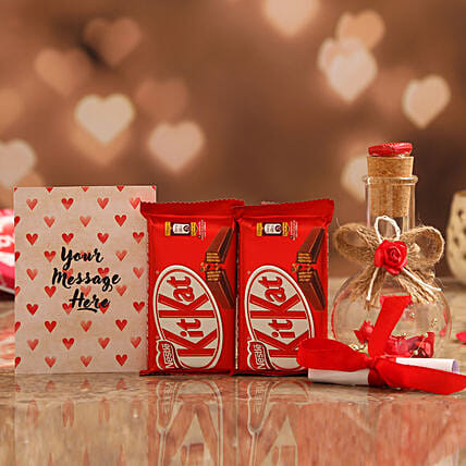 Personalised Message In Love Bottle & Nestle KitKat Online