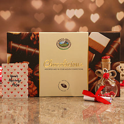 Personalised Message Love Bottle & Assorted Chocolates Online