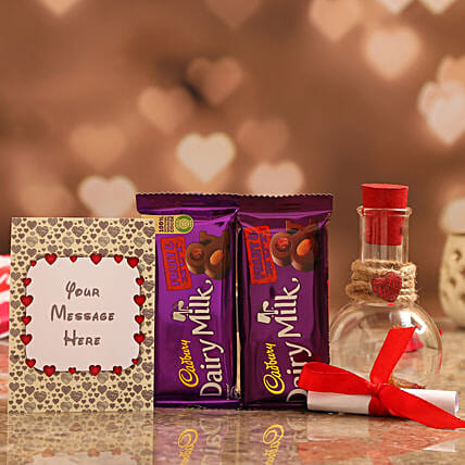 Personalised Message Love Bottle & Cadbury Fruit & Nut Online