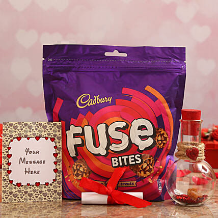 Personalised Message Love Bottle & Cadbury Fuse Treats Online