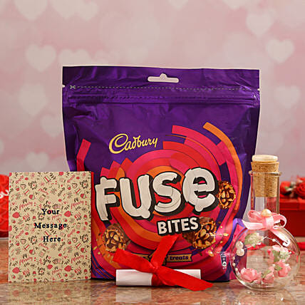 Personalised Message Pink Bottle & Cadbury Fuse Treats Online