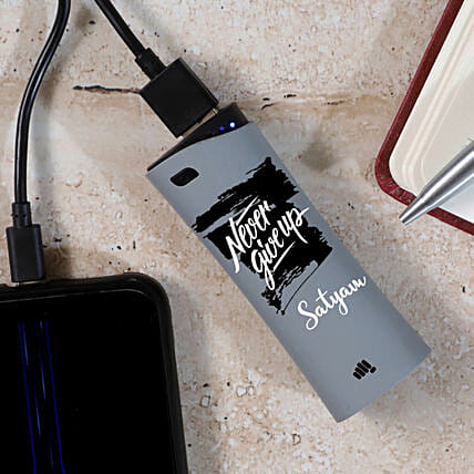 Personalised Micromax Never Give Up Power Bank:Personalised Electronic Gadgets
