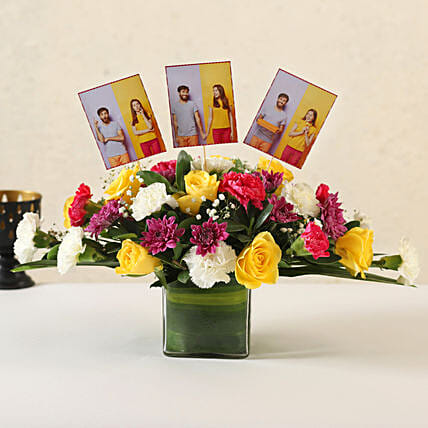 Online Customised Mixed Flowers Vase Arrangement:Flower Vase Arrangements