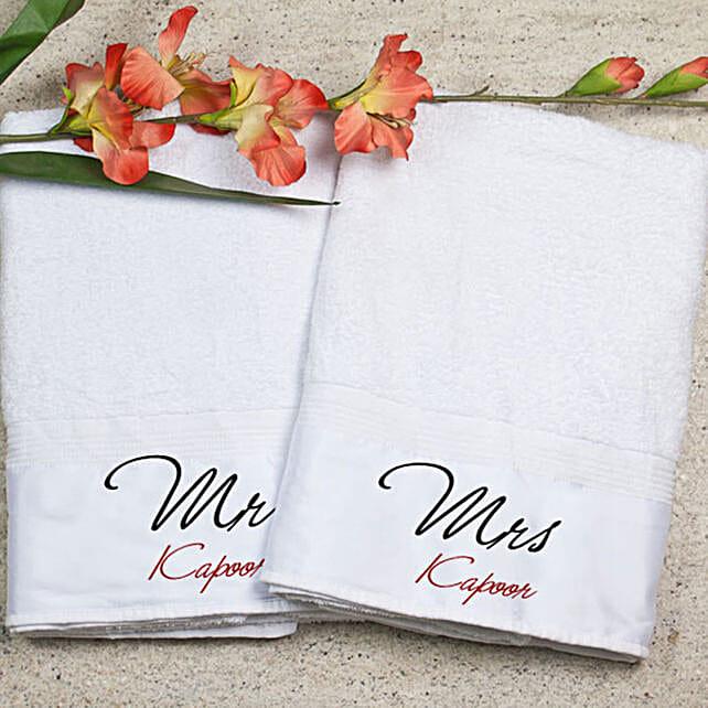 Personalised Mr Mrs Bath Towel Set