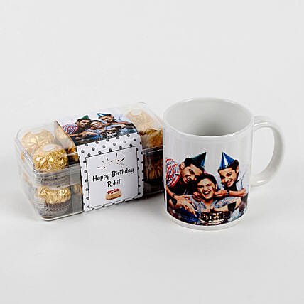 Combo Coffee mug with Chocolate:Personalised Chocolates for Birthday