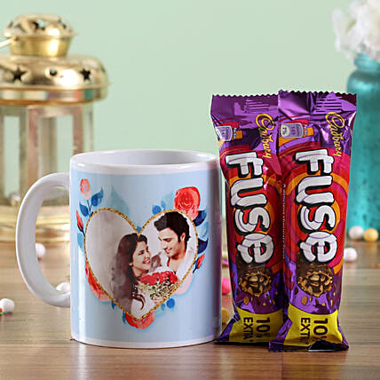 Photo Mug and Chocolate Bar Combo for Couple:Personalised Gifts N Chocolates