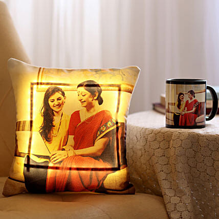 Online Mug & LED Cushion Combo For Mom:Personalised Led-cushions