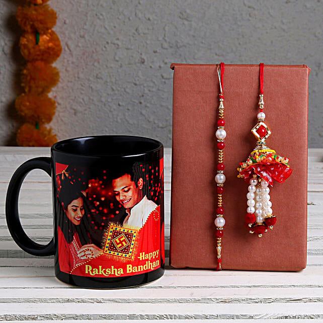 Online Personalised Mug & Bhaiya Bhabhi Rakhi:Rakhi With Mugs