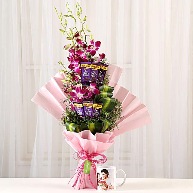 Personalized Mug & Orchids Dariy Milk Bouquet