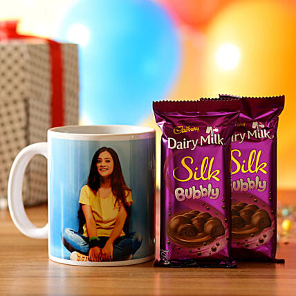 printed mug with chocolate online:Personalised Gifts Combos