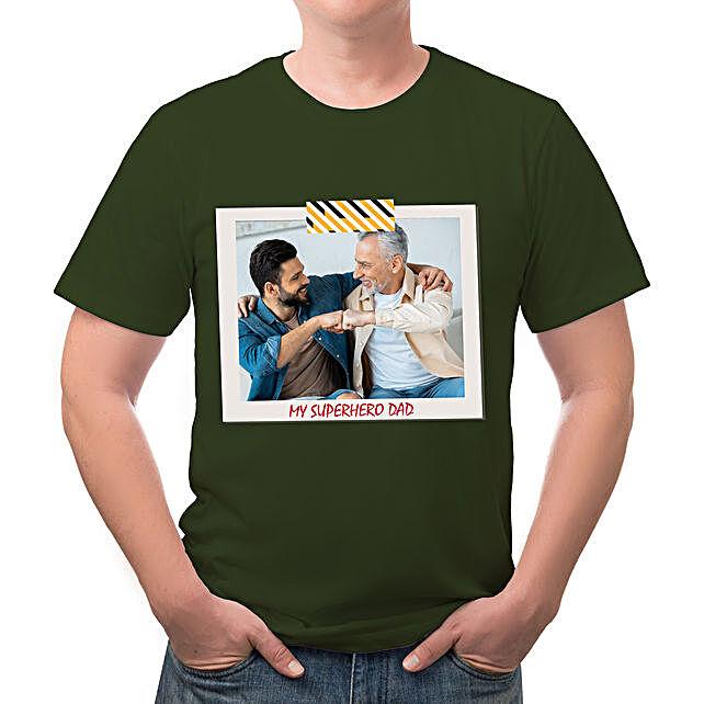 Personalised My Superhero Dad Green T Shirt