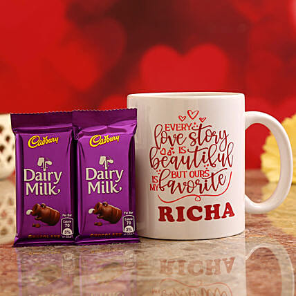 Customised Name Valentine Quote Mug and Cadbury Dairy Milk