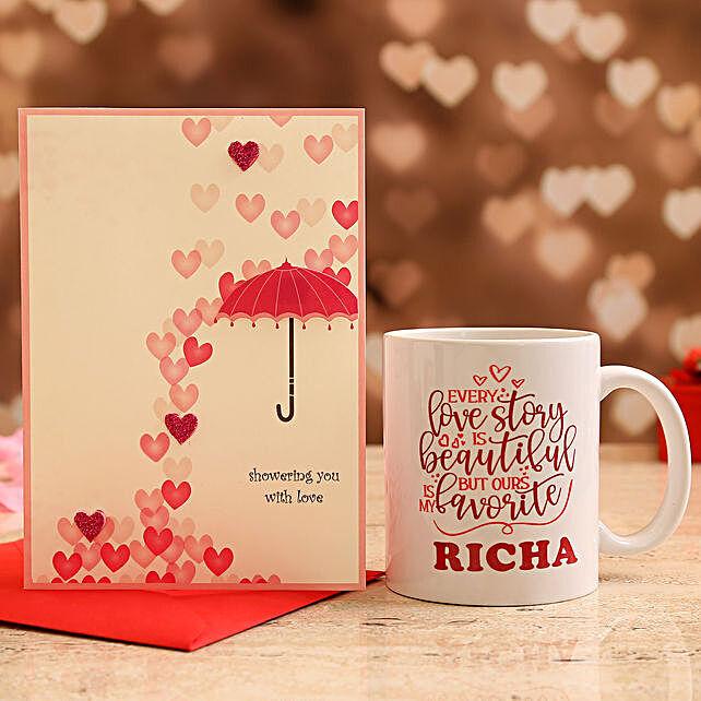 Customised Name Valentine Quote Mug and Love Umbrella Card