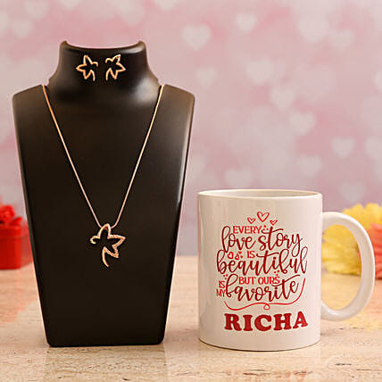 Customised Name Valentine Quote Mug and Pretty Necklace Set