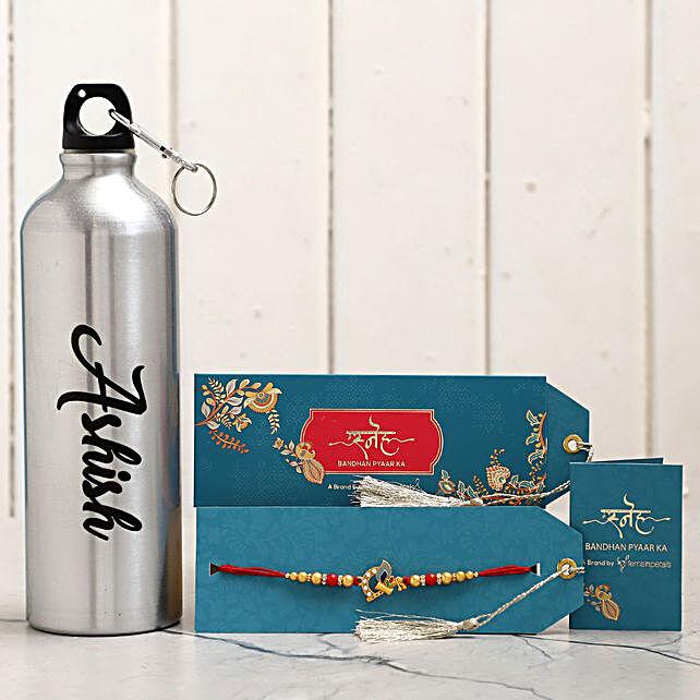 Personalised Name Water Bottle and Krishna Rakhi:All Rakhi