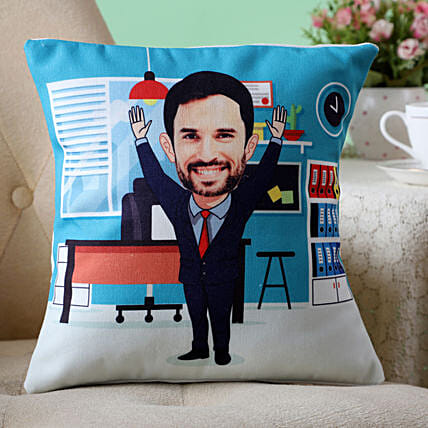 office man caricature cushion for him