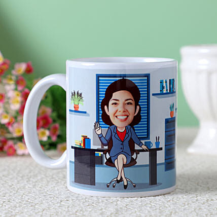 online office woman caricature mug for her