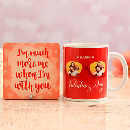 Customised Photo Mug and Love Quote Table Top:Personalised Gifts Combo for Valentine's Day