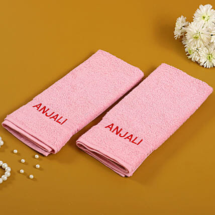 Personalised Pink Cotton Towel Pack Of 2:Personalised Towels