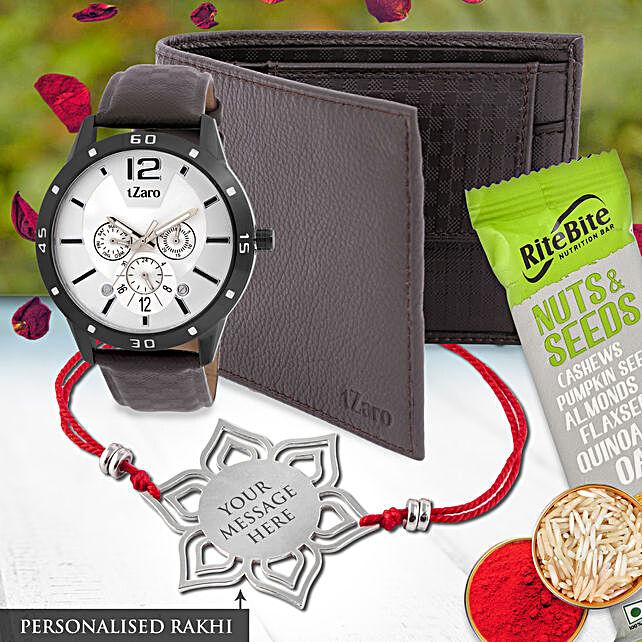 personalised rakhi and watch wallet hamper for bro