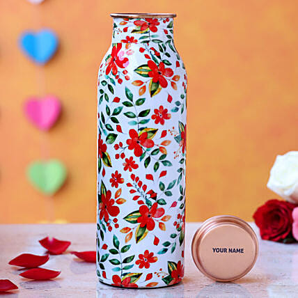 Personalised Red Floral Water Bottle