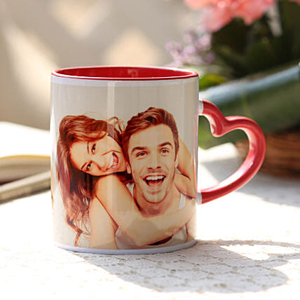 Valentine Red Heart Handle Mug