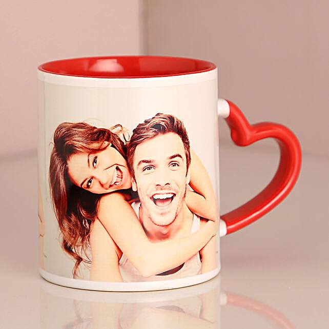 Valentine Red Heart Handle Mug:Customised Coffee Mug