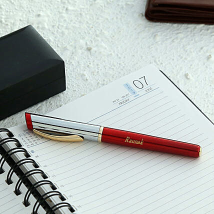 Personalised Red Roller Ball Pen:Send Personalised Pens