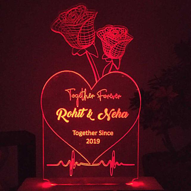 rose n heart shape night lamp online