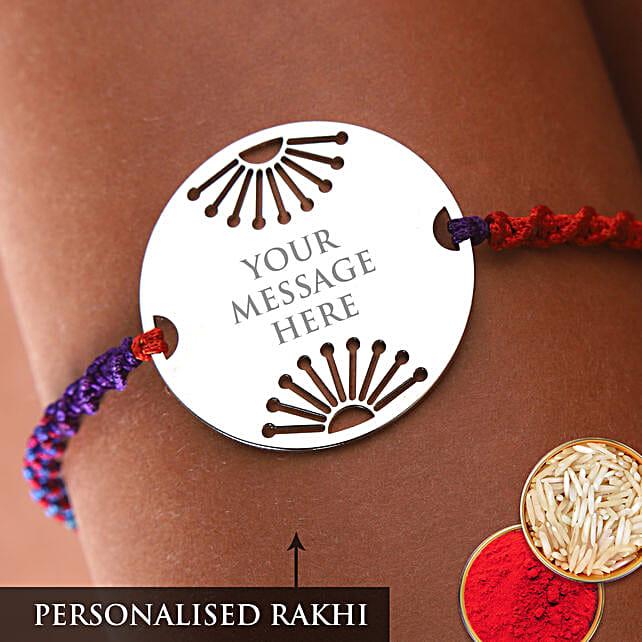 Personalised Round Metal Rakhi:Customized Rakhi