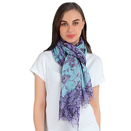 printed silk floral stole online:Scarves And Stoles