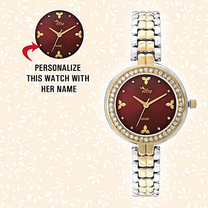 Personalised Silver & Golden Pretty Watch