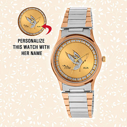 Personalised Silver & Golden Watch:Send Personalised Watches