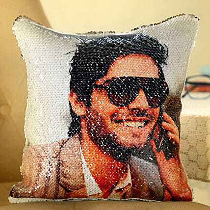 Photo Printed Sequin Cushion For Him:Customised Pillow